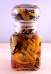 jar with all the ingredients for tonic